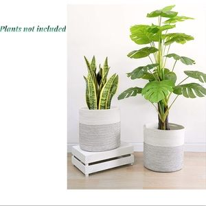 Other - 2Pcs Cotton Woven Rope Plant Indoor Basket